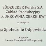 Cukrownia Cerekiew nagrodzona Srebrnym Laurem Umiejętności i Kompetencji